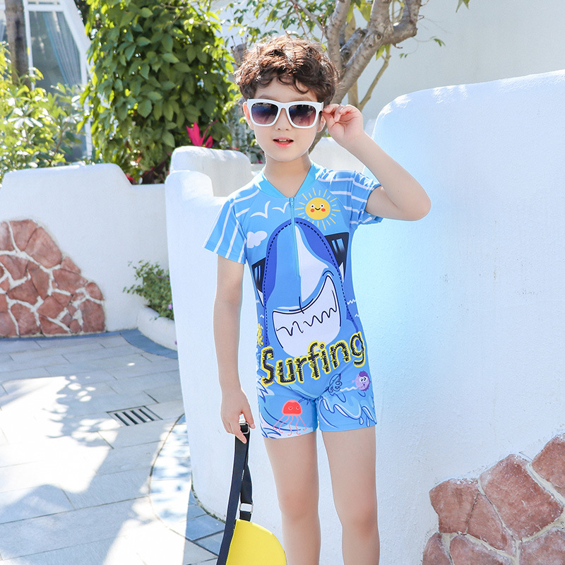 Europe And America 2019 New Style Hot Sales KID'S Swimwear Short Sleeve Shorts One-piece Cartoon Zipper Small Stand Collar BOY'S