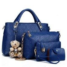 Women Handbags 4pcs Women Composite Bags High Quality Ladies Handbags Female PU Leather Shoulder Messenger Bags Tote Bag Bolsa цена 2017