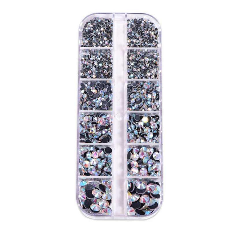 Хрустальные стеклянные бусины для ногтей, стразы с плоской спинкой, драгоценные камни с 12 решетками, ящик для хранения для домашнего декора, принадлежности для рукоделия
