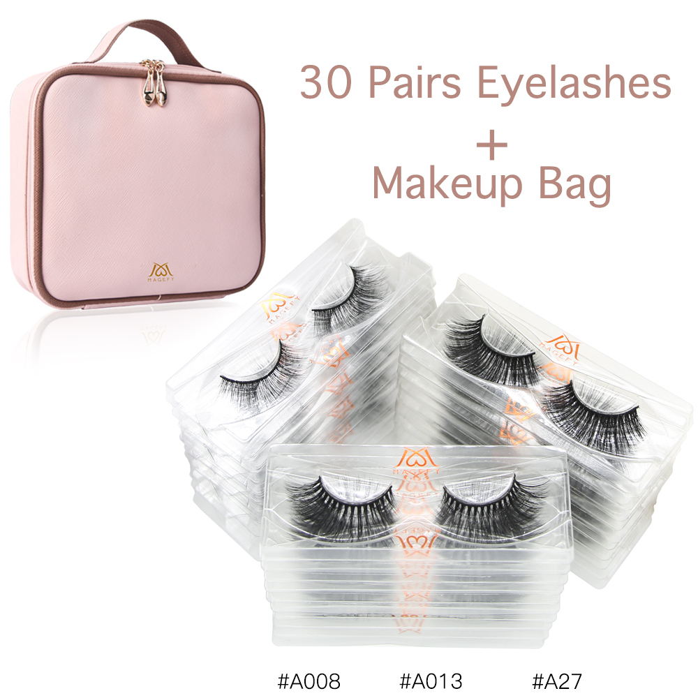MAGEFY Popular 30pairs/pack Mink Eyelashes With Tray No Box Natural False Eyelashes 3d Lashes With 1pcs Cosmetic Bag Makeup Kit
