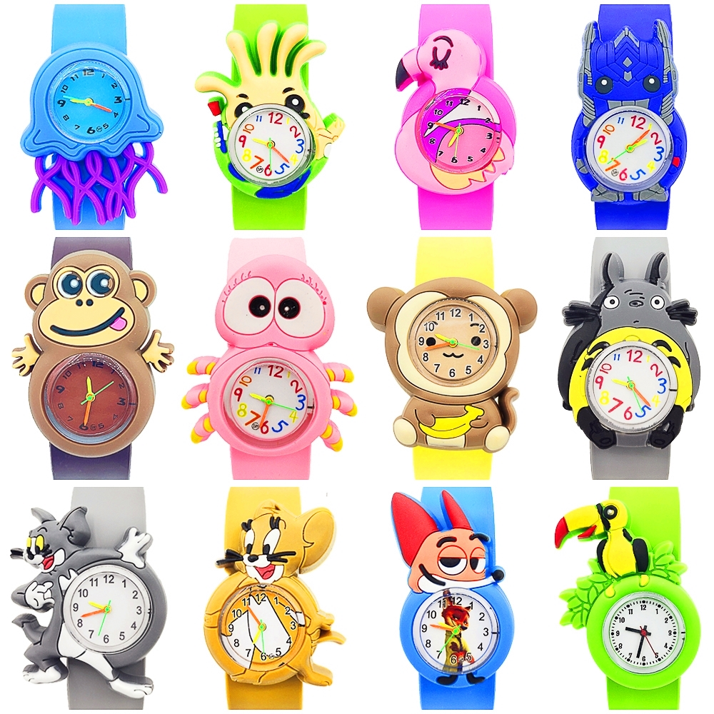 16 New Styles Animals Children Watch Kid Baby Learn Time Toy Fox/Cat/Mouse/Monkey/Spider/Bird Wrist Watch for Kids Birthday Gift