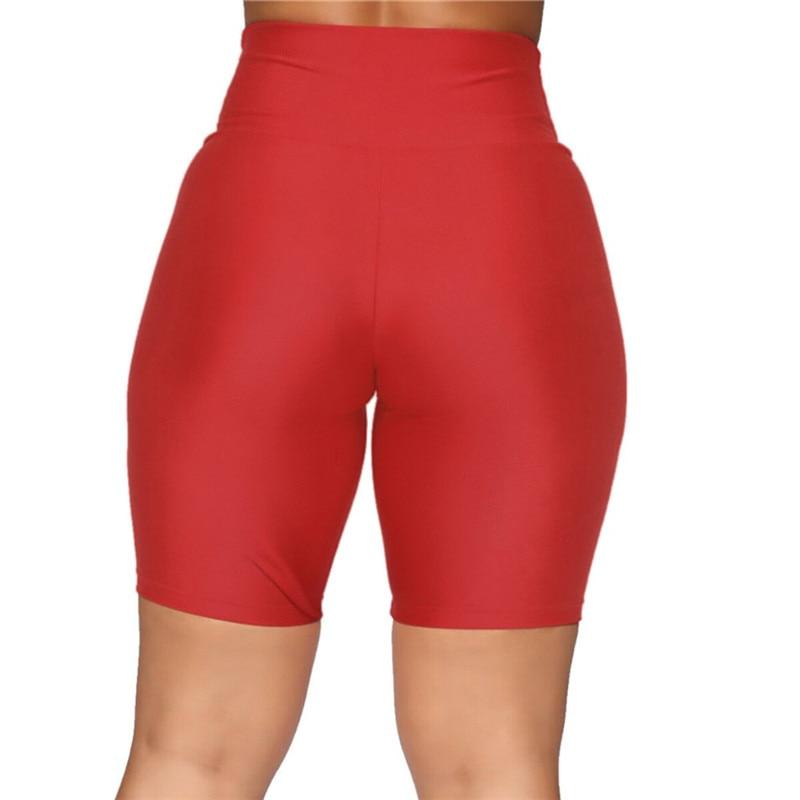 2020 New Women`s Cycling Shorts Stretch Plain Biker shorts Casual Sports Fitness Ladies Elastic Waist Leggings Slim Shorts (2)