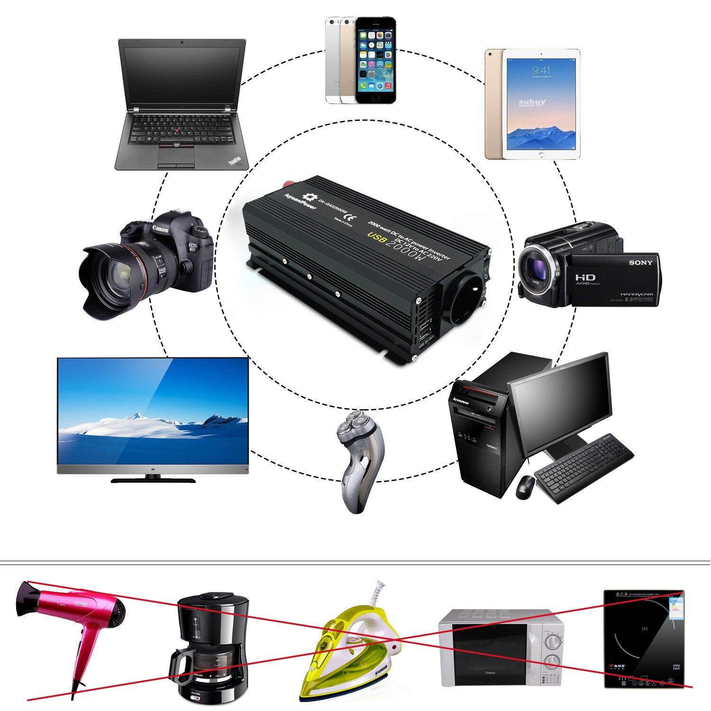 Omvormer 12 V 220 V 1200W/1500W/2000W Converter 2 Usb Eu Universele Webasto 12 volt Inversor12v 220 V Inversores Solar 6