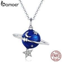 BAMOER sıcak satış 100% 925 ayar gümüş gizli gezegen ay yıldız kolye kolye kadınlar için gümüş takı BSN007