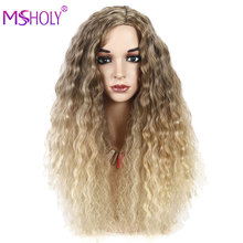 Synthetic Wigs Deep Wave Hair Wig Curly Ombre Brown Blonde 28 Inch Wig Middle Part Cosplay Lolita Wigs For Woman Msholy Hair