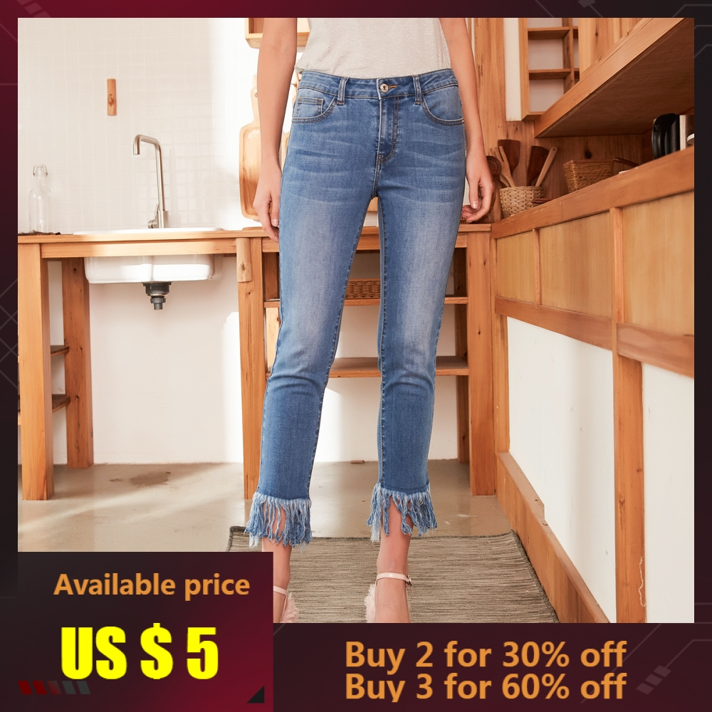 Metersbonwe Straight Tassel   Jeans   For Women   Jeans   Woman Denim Slim Pants High Quality Stretch Waist Women   Jeans