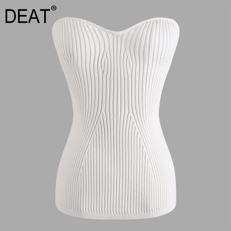 DEAT 2020 New Spring And Summer Fashion Women Clothing V-neck Sleeveless Knitting Pullover Slim High Waist T-shirt WL09500L