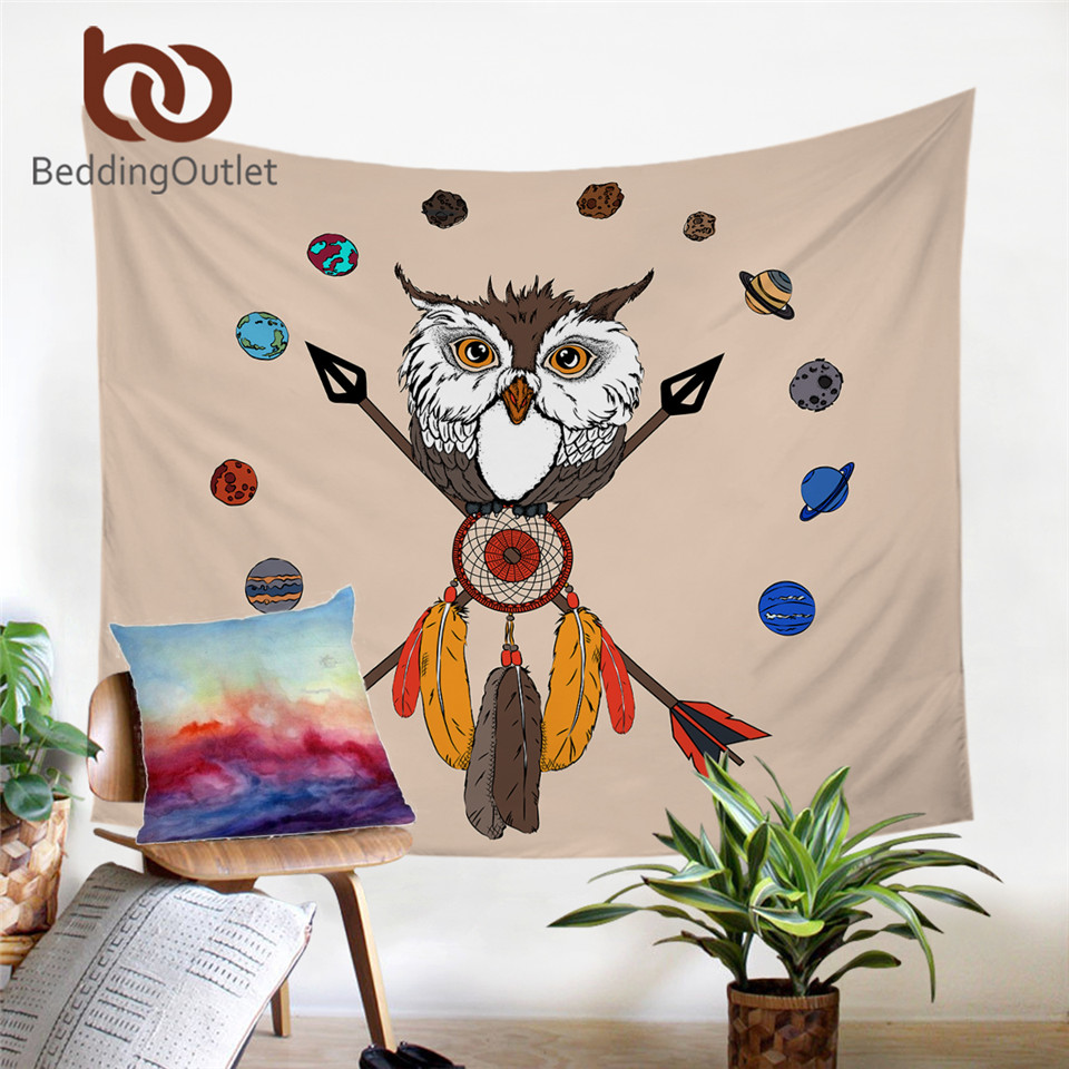 BeddingOutlet Cartoon Owl Tapestry Wall Hanging for Living Room Tribal Feathers Wall Carpet Dreamcatcher tapiz Planets Bedlinen(China)