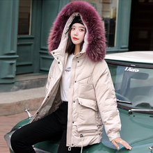 winter coat women fur collar hooded thicken warm cotton padded female jacket plus size outwear chaqueta mujer