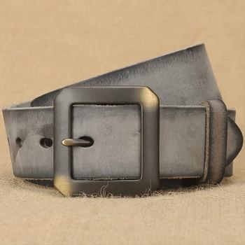 Mens Genuine Leather Belt Casual Fashion Belts for Man Jeans Buckle Strap Black Color Luxury Quality Wider Fashion Designer
