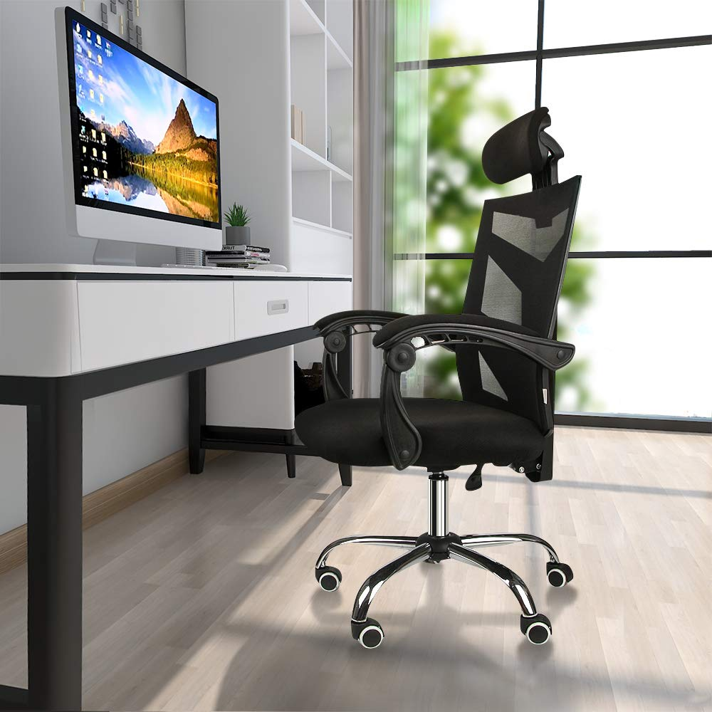 Ergonomic Mesh Office Chair High Back Computer Chair Desk Chair Mesh Chair With Thick Cushion Soft Adjustable Headrest Armrests
