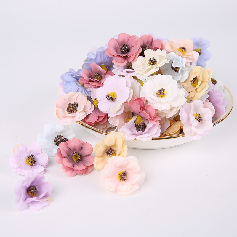 100 Pcs/3cm Multicolor Mini Daisy Silk Artificial Flower DIY Party Christmas Wreath Home Wedding Decoration Artificial Flower-2