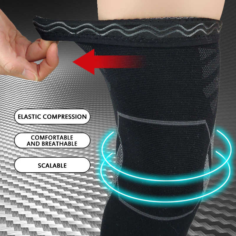 Elastic Sports lengthen knee pad Long Leg Sleeve Non slip Bandage  Compression leg Support Protector warmer for men women| | - AliExpress