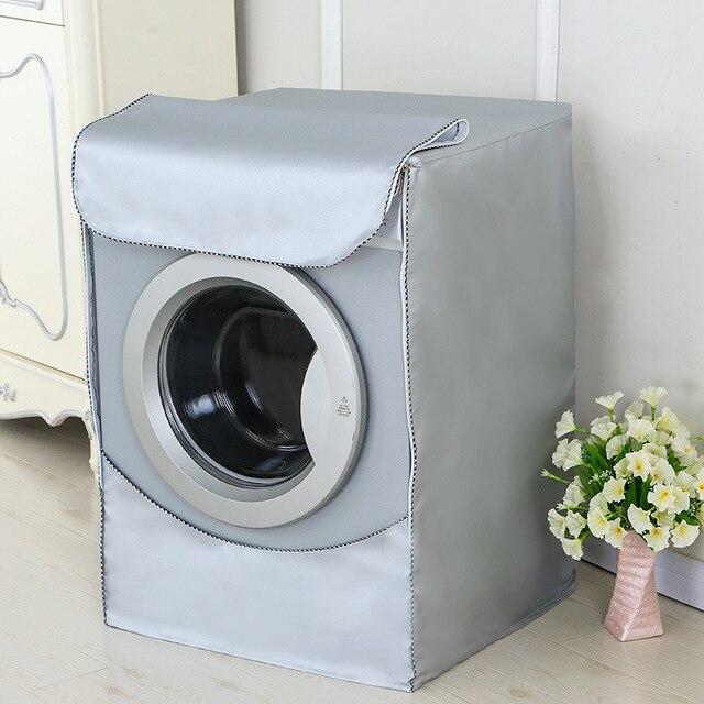 Couverture de Machine à laver Fibre de Polyester imperméable à leau à chargement frontal couverture de sèche-linge protection solaire blanchisserie argent revêtement anti-poussière couverture