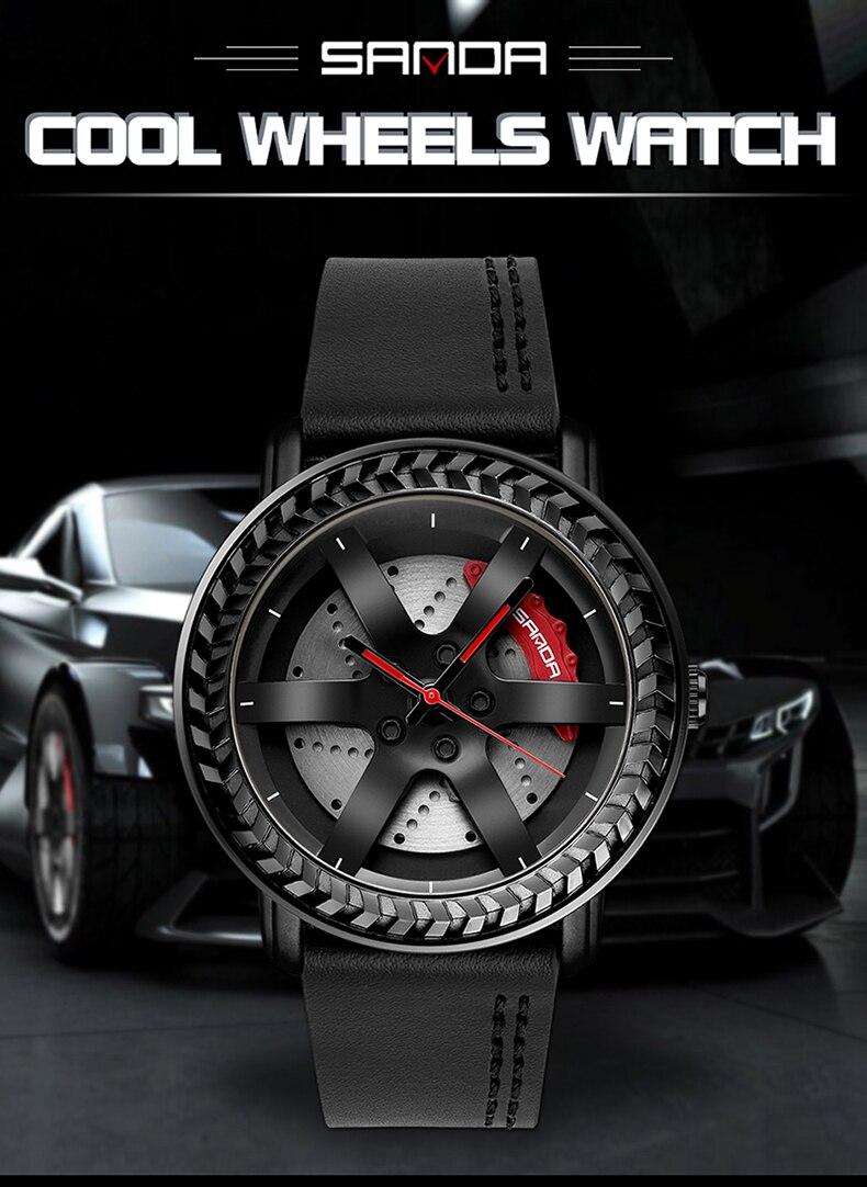 Бренд sanda Роскошные мужские часы с автомобильным колесом 3d