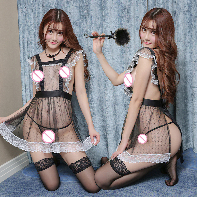 Sexy lingerie lace transparent maid maid role playing uniform temptation adult mesh perspective nightdress set Erotic underwear