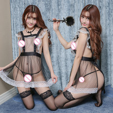 Sexy lingerie lace transparent maid maid role playing uniform temptation adult mesh perspective nightdress set Erotic underwear new sexy lingerie lace bow cute cute maid sexy perspective mesh uniform temptation role playing suit clothes bracelet headdress