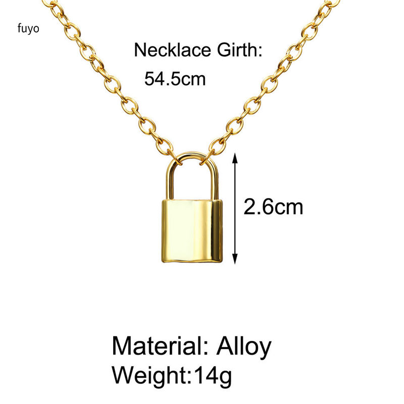 Hb8ed6d28a97b4a9fa414fea93c71a882P - Punk Stainless Steel Color Lock Pendant Necklaces New link Chain lock Necklaces collar Femme Women Gothic Jewelry