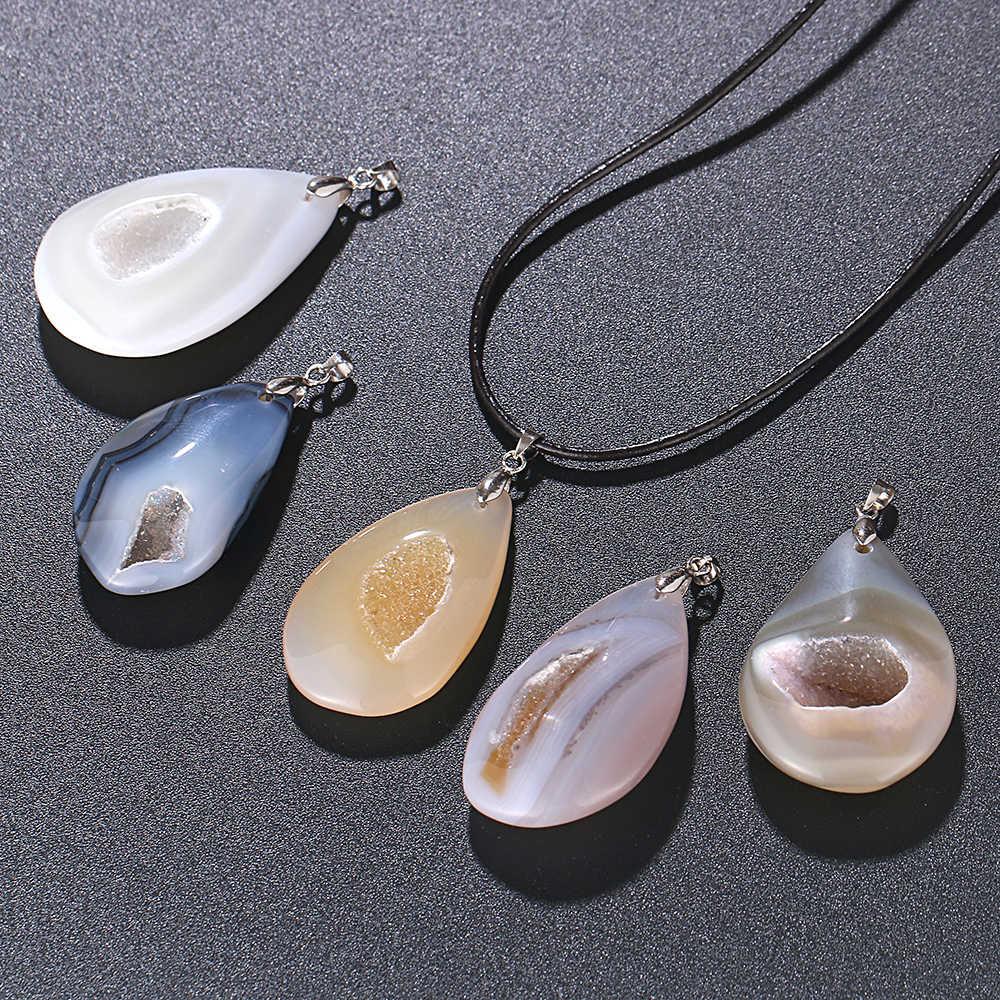 ShinyGem naturalny nieregularny kształt agaty z skórzany łańcuch naszyjnik czeski komunikat biżuteria naszyjniki dla kobiet mężczyzn
