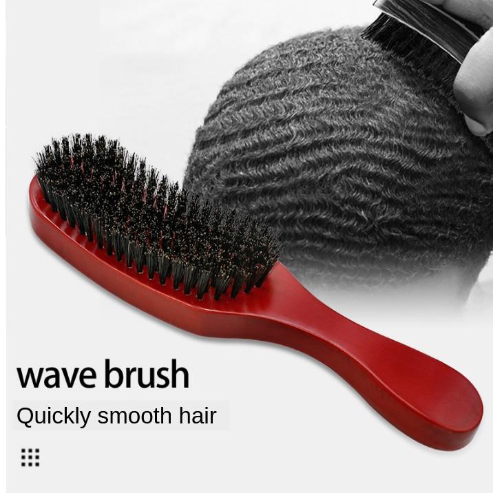CestoMen 100% Black Boar Bristle Hair Brush Solid Wood Shaving Brush Beard Massage Curved Wooden Beard Mustache Brushes G0106