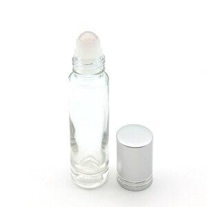 Image 5 - 10 adet doğal taş silindir topu 10ml uçucu yağ rulo kalın cam şişe kristal cips şişe