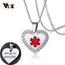 Vnox Personalisieren Medical Alert ID Kristall Anhänger Herz Halskette Anti Allergie Edelstahl Notfall Erinnerung Schmuck