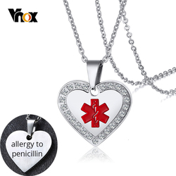 Vnox Personalize Medical Alert ID Crystal Pendant Heart Necklace Anti Allergy Stainless Steel Emergency Reminder Jewelry