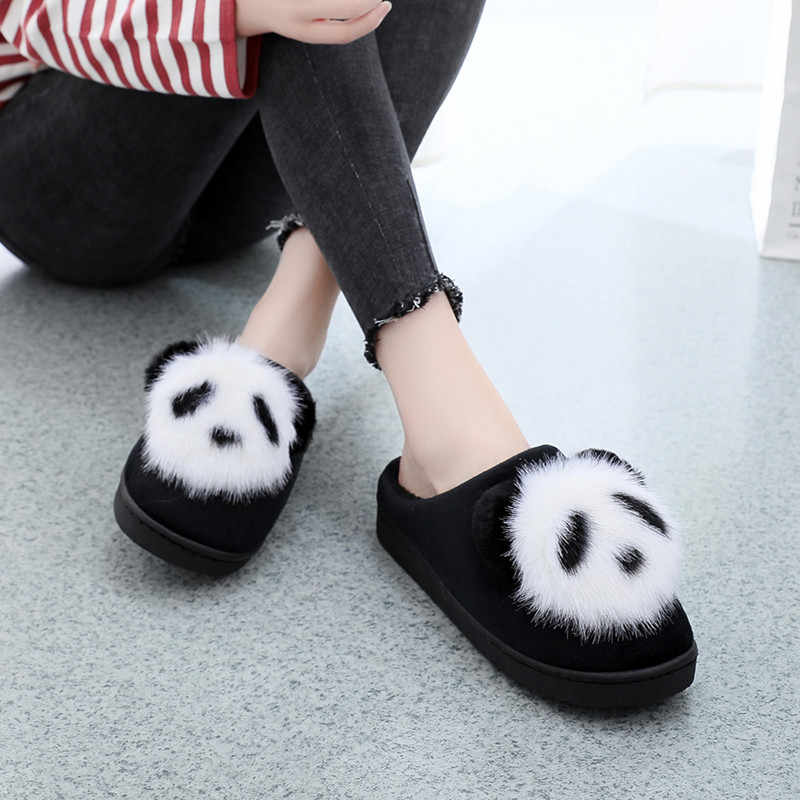 Panda Slippers Plush Cute Women Slippers Cartoon Animation Non-Slip On Warm Plush Slippers Ladies Indoor Home Slippers Shoes