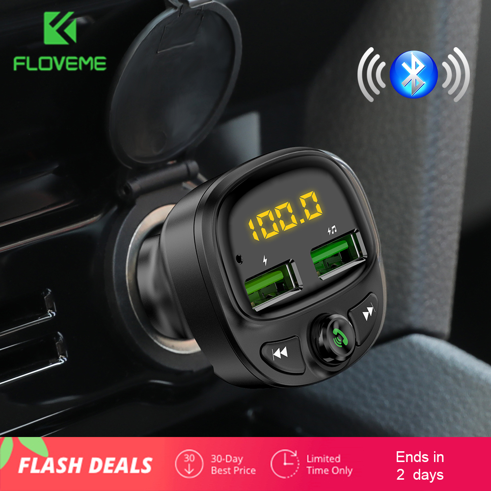 FLOVEME USB Car Charger For Phone Wireless Fast Bluetooth Fm Transmitter HandFree Charger Chargeur MP3 TF Card Music Car Kit