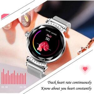 Image 5 - ساعة ذكية نسائية فاخرة H2 ، ساعة ذكية عصرية مقاومة للماء مع التحكم في معدل ضربات القلب واللياقة البدنية لهاتف Android IOS PK B80 H1 H8