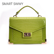Simple Fashion Style Ladies Clamshell Messenger Bag Crocodile Pattern PU Leather Shoulder Bags Vintage Mobile Phone Pouch 2019