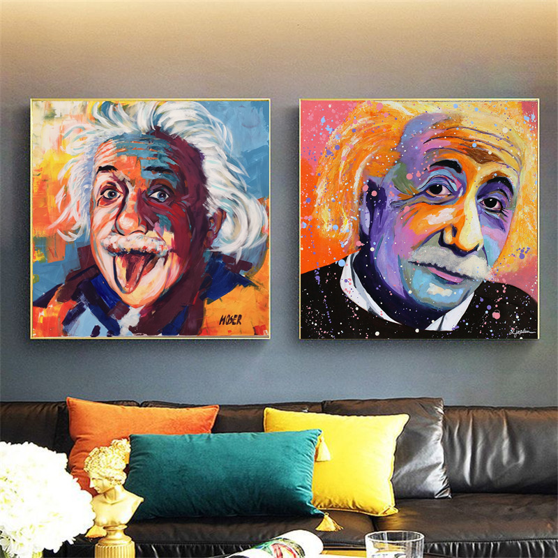 Einstein Portrait Tongue out Wall Pop Art Graffiti Canvas Print Picture Painting For Living Room Home Wall art Decor Posters(China)