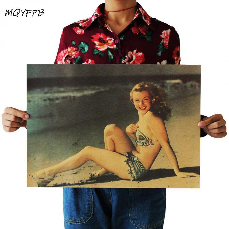 Movie star Marilyn Monroe kraft poster home decor painting wall sticker room picture 51x36cm