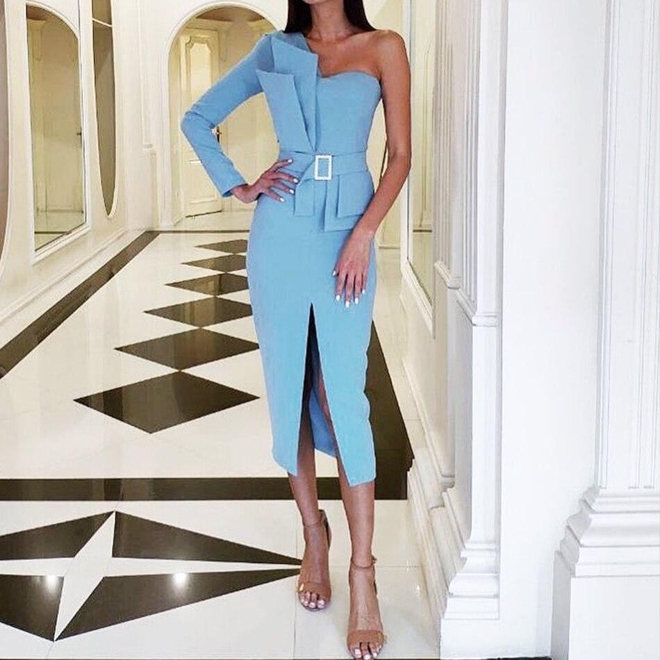 Adyce 2020 New Autumn Women One Shoulder Celebrity Evening Party Dress Vestido Sexy Blue Strapless Sashes Long Sleeve Club Dress