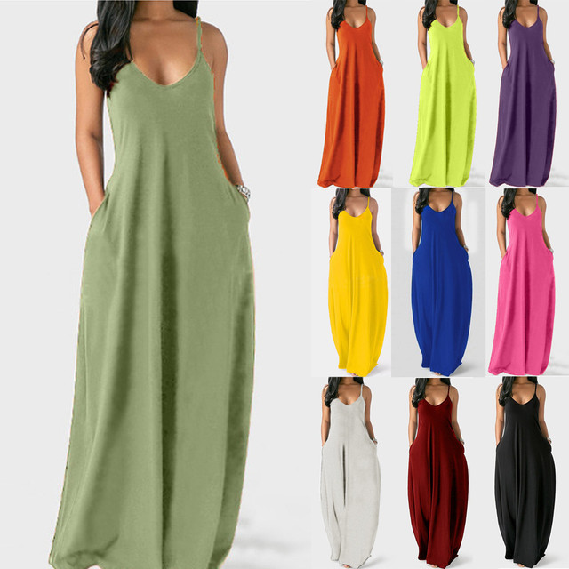 Women Dress Fashion Sexy Plus Size Solid Color Sleeveless O-Neck Dresses Ladies Pockets Camisole Long Dress vestido de mujer 1