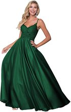 Women's Lace V Neck Long Prom Dresses A Line Satin Evening Formal Party Ball Gown with Pockets satin dress party formal