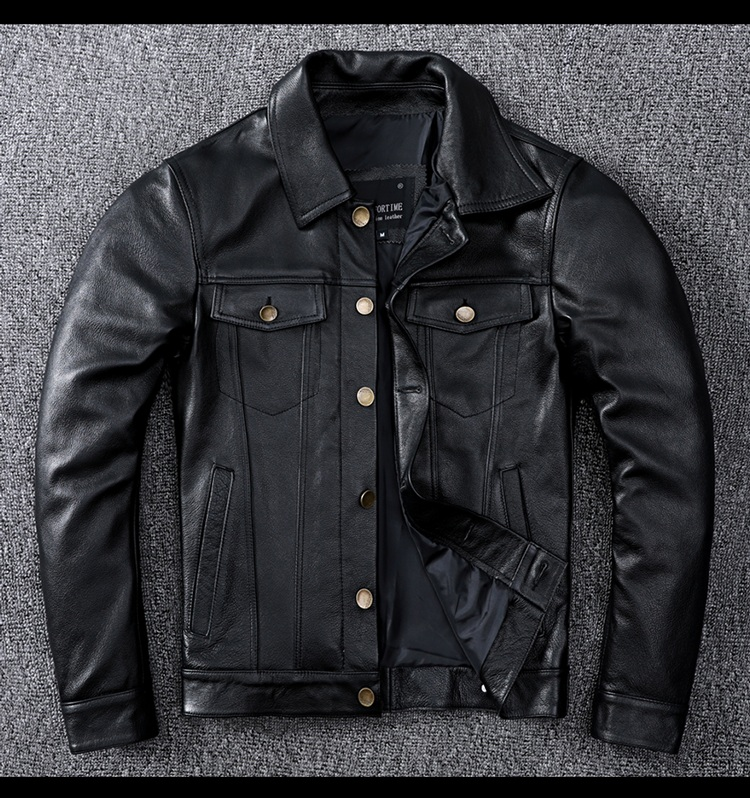 Free shipping.Genuine Leather jacket.classic casual slim cowhide coat.plus size mens quality leather clothing.fashion.wholesales