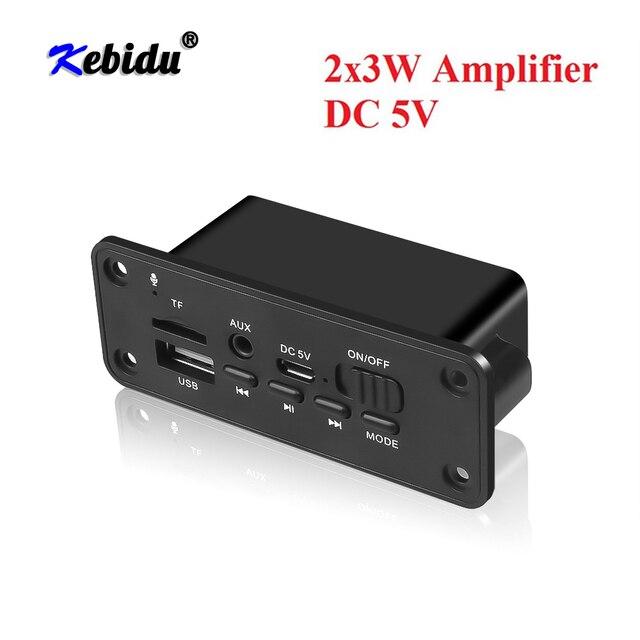 Kebidu mãos livres mp3 player decodificador placa 5v bluetooth 5.0 2*3w amplificador de carro fm módulo de rádio suporte fm tf usb aux gravadores