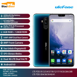 Перейти на Алиэкспресс и купить ulefone t2 t 2 6.7 inch cellphone helio p70 octa core 6gb+128gb mobile phone android 9.0 smartphone wireless charging faceid nfc