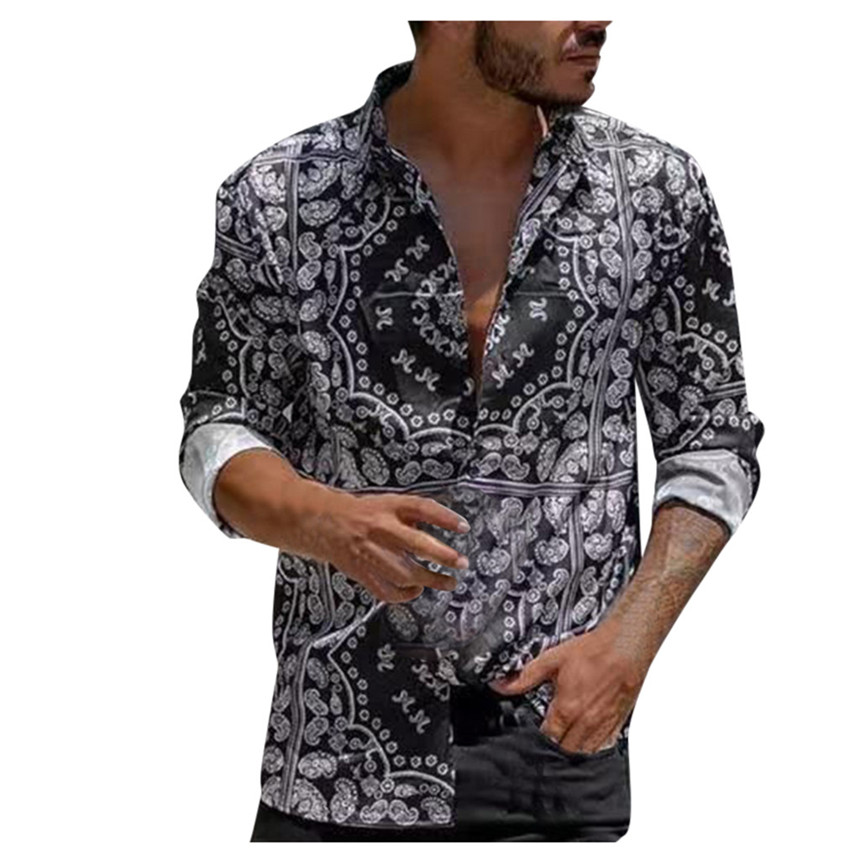 KLV Shirt Men's Autumn Loose Shirt Casual Daily Stand Collar Shirt Print Long Sleeve Shirt Ethnic Style Vintage Shirt