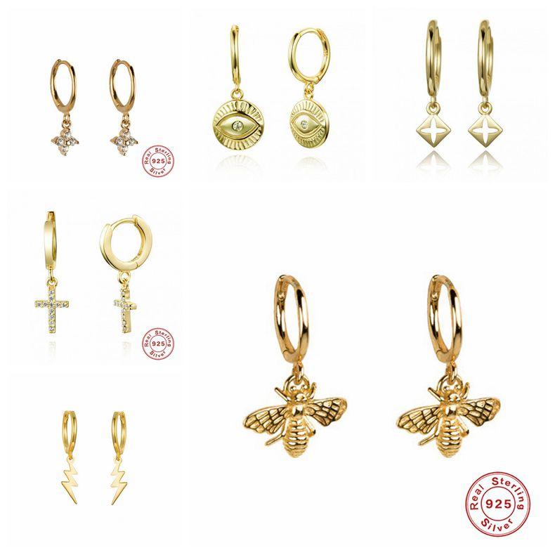 2019 Real Small 925 Sterling Silver Hanging Hoop Earrings For Women Lightning Honeybee Eye Animal Charm Small Hoop Earring A30