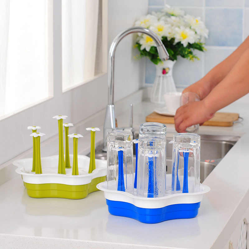 زجاجة لوحة استنزاف رف منظم مطبخ الإبداعية البلاستيك تخزين حامل هندسي زهرة نمط تخزين أصحاب