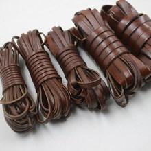 vintage Genuine Cowhide Leather cord strip Flat rope DIY leather craft Jewelry bag 5 meters leathercraft