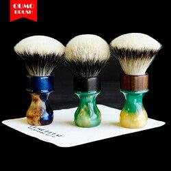 OUMO PINSEL-Seele von holz rasierpinsel mit Mandschurei/Seide HMW silvetip knoten shavingbrush knoten