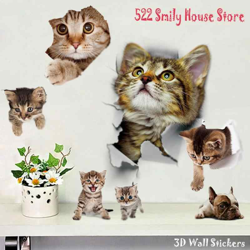 1 Pc 3D Leuke Diy Cat Decals Adhesive Familie Muurstickers Raam Decoraties Badkamer Toilet Seat Decor Keuken Accessoires