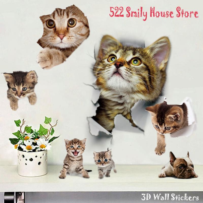 1 шт., 3D наклейки для кошек «сделай сам», клейкие наклейки на стену для всей семьи, украшения для окна, комнаты, ванной, унитаза, Декор, кухонные аксессуары