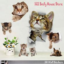 1PC 3D Cute DIY Cat Decals Adhesive Family Wall Stickers Window Room Decorations Bathroom Toilet Seat Decor Kitchen Accessories cheap 3D Sticker cartoon For Refrigerator For Smoke Exhaust For Cabinet Stove For Tile For Wall Toilet Stickers Furniture Stickers