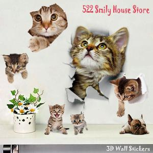 1PC 3D Cute DIY Cat Decals Adhesive Family Wall Stickers Window Room Decorations Bathroom Toilet Seat Decor Kitchen Accessories(China)