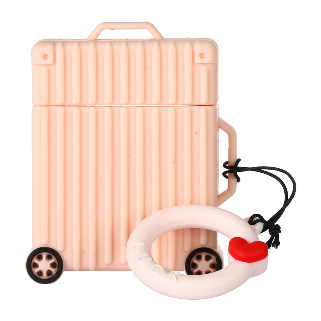 Cute Silicone Protective Case Cover Suitcase key Chain for Apple Earphones Silica gel Lovely Full Protect Cases Caja Auriculares