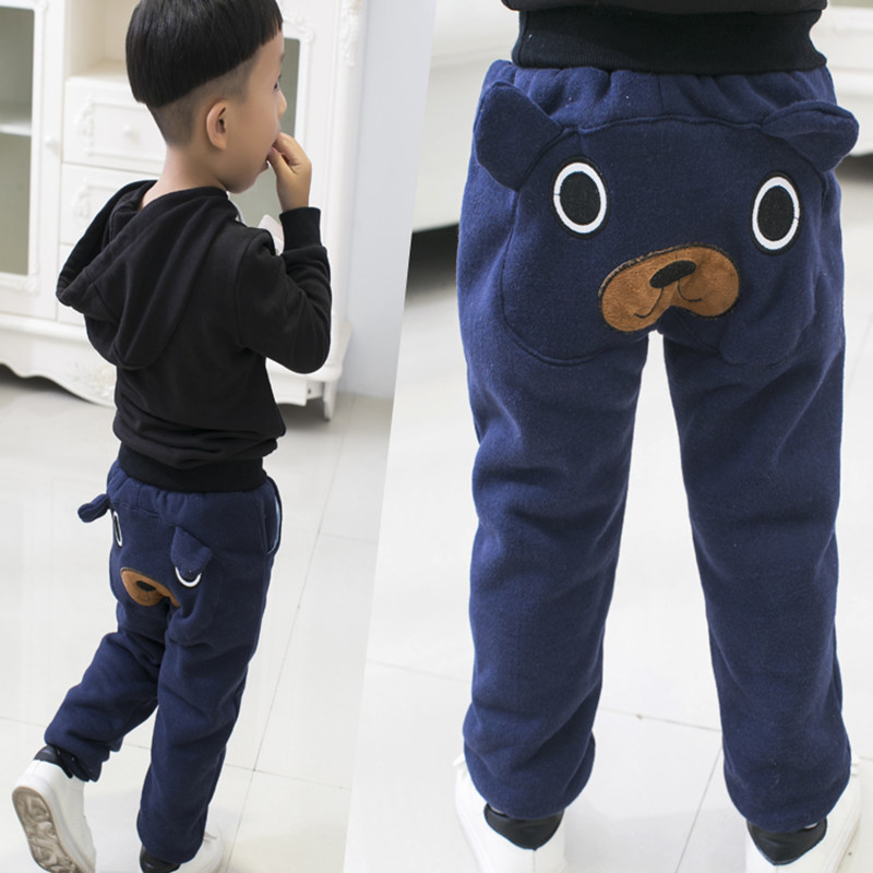 Winter Toddler Boys Winter Warm Trousers Cartoon Children's Trousers for 1-6 Years Boys Plus Velvet Thickening Pants 4